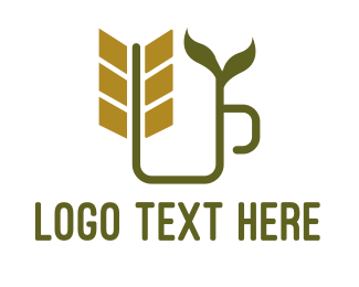 Popcorns - Wheat Leaf Mug logo design