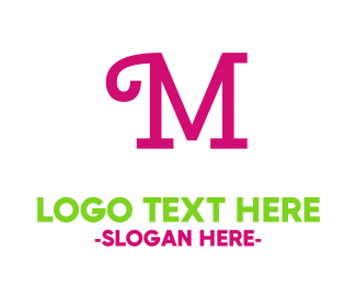 Green And Pink - Curly Pink M logo design