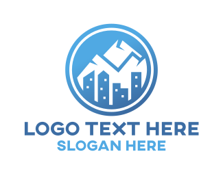 """""""Blue Urban Mountain Badge"""" by SimplePixelSL"""
