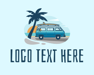 Trailer Van - Summer Travel Surf Van  logo design