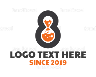 Bio Tech - Modern Number 8 Lab logo design