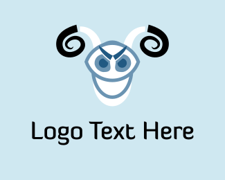 Black And Blue - Black & White Goat logo design