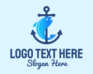 House Boat - Marine Fish Anchor  logo design