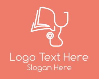 Education - Stethoscope Book Monoline logo design