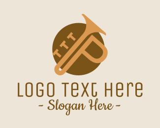 Brass - Trumpet Letter P logo design