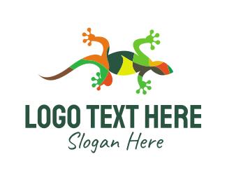 Tropical - Gecko Mosaic logo design