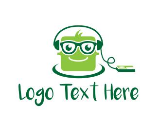 Green Headphones - Music Cube logo design