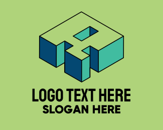 Arcade - 3D Pixel Letter R logo design