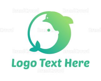 Baby Clothes - Green Rabbit Dolphin  logo design
