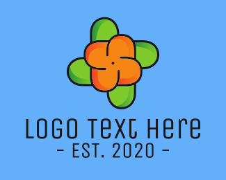 Pinwheel - Orange Flower Pinwheel logo design