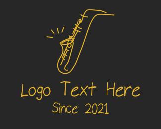 Jazz Lounge - Golden Jazz Saxophone  logo design