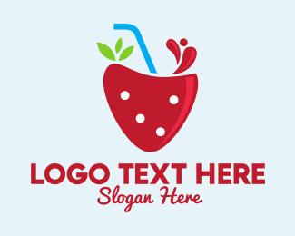 Fresh Fruit - Fresh Strawberry Juice logo design