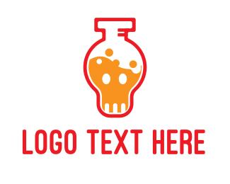Alcoholic - Poison Vial Outline logo design
