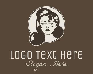 Mirror - Vintage Retro Woman Face logo design