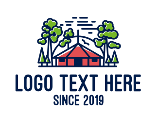 Travel Vlogger - Forest Hut logo design