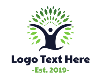 Human Tree - Eco Tree Man logo design