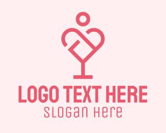 Restaurant - Wine Glass Heart  logo design