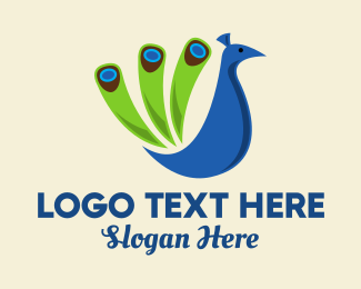 Zoo Animal - Colorful Blue Peacock logo design