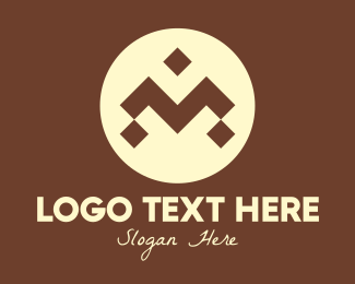 Indigenous - Brown Ethnic Pattern Letter M logo design