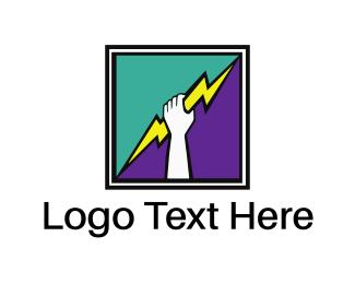 Electrician - Thunderbolt Hand Square logo design