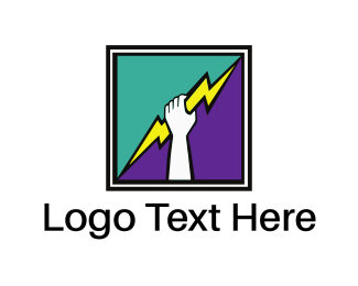 Fist - Thunderbolt Hand Square logo design