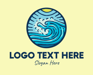 Ocean Waves - Ocean Beach Surf Waves logo design