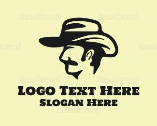 Cowboy - Monochrome Cowboy Head logo design
