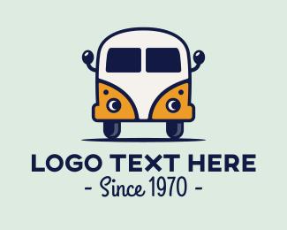 Car Face - Vintage Camper Van logo design
