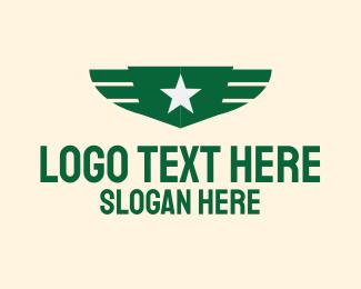 Pilot - Military Green Wings logo design