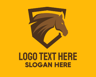 Playoffs - Brown Horse Shield Mascot logo design