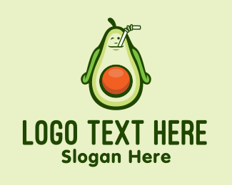 Butter Fruit - Happy Avocado Smoothie  logo design