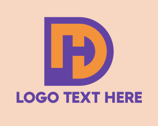 Hidden - Purple DH Symbol   logo design