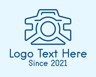 Gadgets - Blue Camera Line Art logo design
