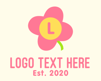 Childrens Fashion - Pink Cute Flower Daycare Lettermark logo design