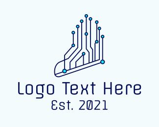 Information Technology - Running Program Shoes logo design