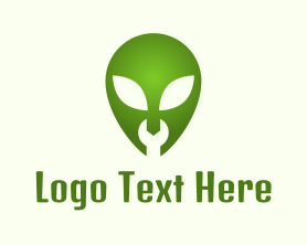Geek - Green Alien Wrench logo design