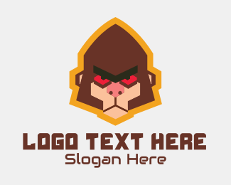 Game Vlogger - Angry Monkey Mascot logo design