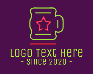 Neon Lights Star Mug Logo