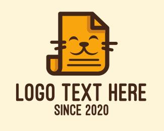 Cat - Orange Cat Paper logo design