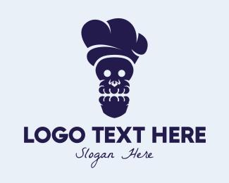 Restaurant - Black Skull Chef logo design
