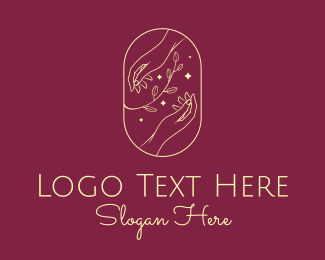 Skin Care - Elegant Gold Natural Hands logo design