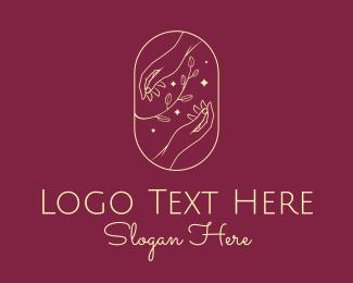 Skincare - Elegant Gold Natural Hands logo design