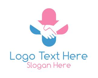 Medical Care - Handshake Medical Cross logo design
