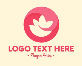 Negative Space - Pink Flower Circle logo design