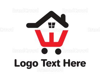 Condominium - House Cart Outline logo design
