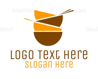 Chopstick - Asian Bowls logo design