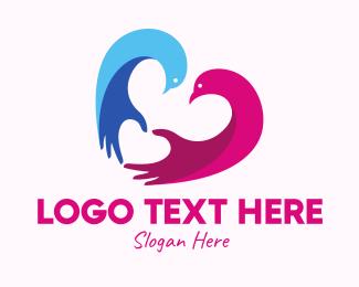 Partner - Heart Couple Doves logo design