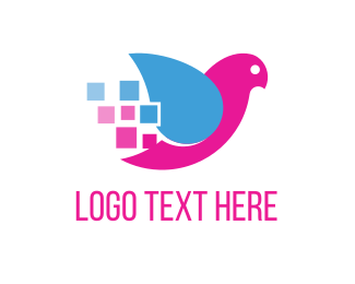 Pixel - Bird & Squares logo design