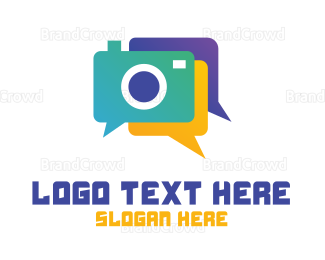 Text Message - Colorful Camera Chat logo design