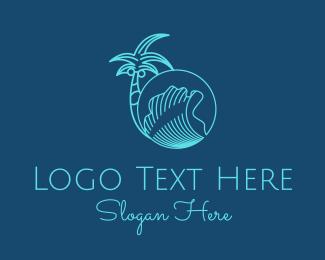 Vacay - Palm Tree Water Waves  logo design